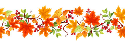 Horyzontalny bezszwowy tło z jesień liśćmi. royalty ilustracja