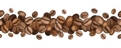 Horyzontalny bezszwowy tło z kawowymi fasolami.  royalty ilustracja