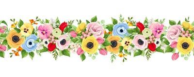 Horyzontalny bezszwowy tło z kolorowymi kwiatami royalty ilustracja