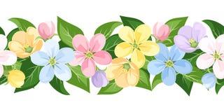 Horyzontalny bezszwowy tło z kolorowymi kwiatami. royalty ilustracja