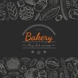 Horyzontalny bezszwowy tło z różnorodnymi piekarnia produktami ilustracja wektor
