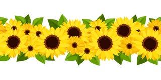 Horyzontalny bezszwowy tło z słonecznikami i calendula. royalty ilustracja