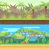 Horyzontalny bezszwowy tropikalny lasowy dżungli tło w kreskówki mieszkania stylu również zwrócić corel ilustracji wektora ilustracji