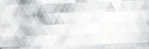 Horyzontalny czarno biały sztandaru wzór z trójbokami ilustracji