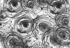 Horyzontalny czarny i biały tło z handdrawn atramentów okręgami, ręcznie robiony w freehand stylu, zmrok, niedokonany, na texture Zdjęcia Stock