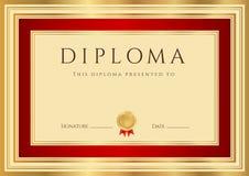 Dyplom, świadectwo szablon z czerwieni granicą/ ilustracji