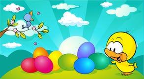 Horyzontalny Easter, wiosny sztandaru projekt z i - wektor ilustracja wektor