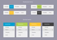 Horyzontalny i pionowo menu Obrazy Stock
