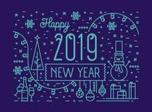 Horyzontalny kartki z pozdrowieniami lub przyjęcia zaproszenia szablon z Szczęśliwym nowego roku życzeniem, bałwan, baubles, lekk ilustracja wektor