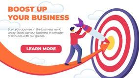 Horyzontalny Płaski sztandaru zwiększenie W górę Twój biznesu ilustracja wektor