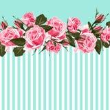 Horyzontalny pasiasty wzór z różą, peonią, liśćmi i pączkiem menchii, royalty ilustracja