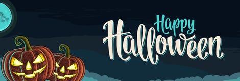 Horyzontalny plakat z Szczęśliwym Halloweenowym kaligrafii literowaniem, rytownictwem i ilustracja wektor