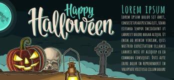 Horyzontalny plakat z Szczęśliwym Halloweenowym kaligrafii literowaniem Wektorowy rytownictwo royalty ilustracja