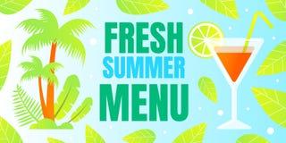 Horyzontalny Plakatowy Wpisowy Świeży lato menu ilustracja wektor