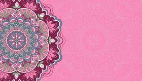 Horyzontalny różowy tło z mandala ilustracji