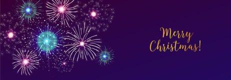Horyzontalny sieć sztandar z fajerwerkami wystawia w ciemnym wieczór niebie i Wesoło bożych narodzeń wakacyjnym życzeniu Xmas świ ilustracja wektor