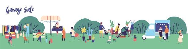 Horyzontalny sieć sztandaru szablon dla garaż sprzedaży, plenerowego festiwalu, lato uczciwej reklamy z mężczyznami i kobiet kupo ilustracja wektor