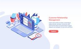 Horyzontalny sieć sztandaru szablon z laptopem, pastylki smartphone na stole, komputerem osobistym i miejscem dla teksta, Klienta ilustracja wektor