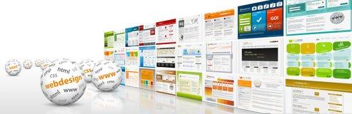 Horyzontalny strona internetowa sztandar z szablonami, sferami i Abbreviati, obraz stock