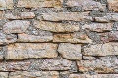 Horyzontalny strzał tekstura kamienna ściana, stary kamienia zakończenie Fotografia Royalty Free