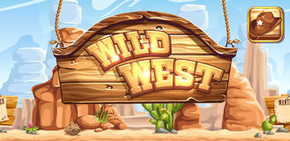Horyzontalny sztandar i ikona dla gemowej Dzikiej Zachodniej rejestraci w ogólnospołecznych sieciach royalty ilustracja