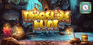 Horyzontalny sztandar, ikona gra komputerowa skarbu polowanie royalty ilustracja