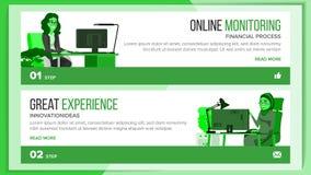 Horyzontalny sztandar strony internetowej projekta wektor Biznesowy projekt Techniczny Online poparcie Onboarding ekran Kreskówki ilustracja wektor