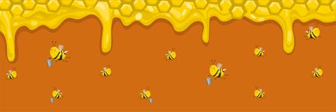 Horyzontalny sztandar z honeycombs, miodem i pszczo?ami, Pszczo?y nios? mi?d w wiadrach r?wnie? zwr?ci? corel ilustracji wektora ilustracja wektor