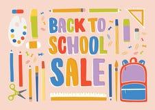 Horyzontalny sztandar z materiały, dostawami i akcesoriami dla lekcj, rzeczy dla edukaci Popiera szkolna sprzedaż ilustracja wektor