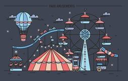 Horyzontalny sztandar z parkiem rozrywki Cyrk, ferris koło, przyciągania, boczny widok z aerostatem w powietrzu kolorowa linia ilustracja wektor