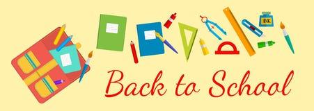 Horyzontalny sztandar Z powrotem szkoła Szkolne torby i materiały Zdjęcie Royalty Free