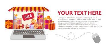Horyzontalny sztandar z prezentów pudełek sprzedażą wśrodku Laptop dekorujący jako sklepowy okno z pasiastym baldachimem, markiza ilustracji