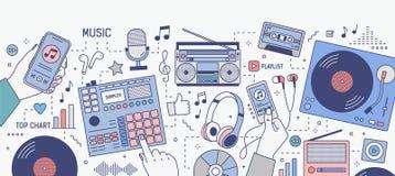 Horyzontalny sztandar z rękami i różnorodnymi przyrządami dla muzyki bawić się i słucha - mobilny zastosowanie na smartphone royalty ilustracja