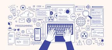 Horyzontalny sztandar z rękami pisać na maszynie na laptop klawiaturze, różnorodnych urządzeniach elektronicznych i symbolach, Pr ilustracja wektor
