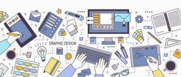Horyzontalny sztandar z rękami pracuje na komputerze lub rysunku na pastylce otaczającej projektant biurowymi dostawami i sztuką ilustracji