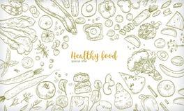 Horyzontalny sztandar z ramą składać się z różny zdrowy lub zdrowotny jedzenie, owoc i warzywo plasterki, dokrętki, jajka ilustracja wektor