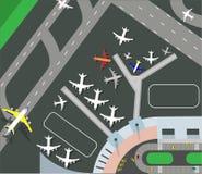 Horyzontalny sztandar z samolotowy taxiing i przygotowywać dla zdejmował na pasie startowym, odgórny widok Pasażerski samolot obo ilustracja wektor