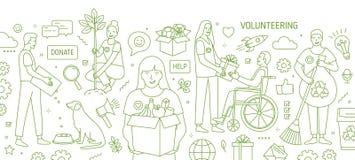 Horyzontalny sztandar z uśmiechniętymi młodymi człowiekami i kobietami zgłaszać się na ochotnika ochotniczą pracę rysującą z ziel ilustracja wektor