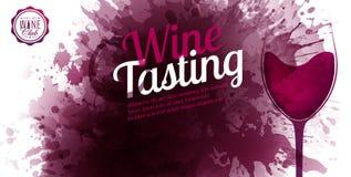 Horyzontalny sztandar z winem plami tło Wino degustacji teksta przykład Wina szkła ilustracja Wektor krople i punkty ilustracji