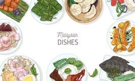 Horyzontalny sztandaru szablon z smakowitymi posiłkami Malezyjska kuchnia lub rama robić wyśmienicie korzenna Azjatycka restaurac royalty ilustracja