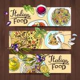 Horyzontalny sztandaru włocha jedzenie ilustracji