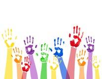 Horyzontalny tło z barwionymi farb rękami Obrazy Stock