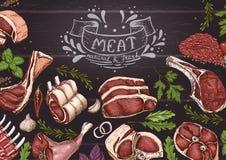 Horyzontalny tło z mięsami royalty ilustracja