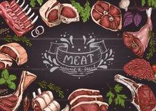 Horyzontalny tło z mięsami ilustracja wektor