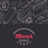 Horyzontalny tło z mięsnymi produktami ilustracja wektor