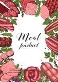 Horyzontalny tło z różnego koloru mięsnymi produktami w nakreślenie stylu Kiełbasy, baleron, bekon, okrasa, salami ilustracji