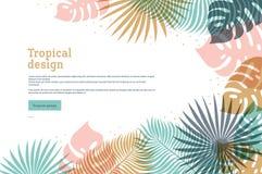 Horyzontalny tropikalny sztandar w pastelowych kolorach Lato tropikalny projekt z egzotycznymi palmowymi liśćmi Monstera, palma l ilustracji