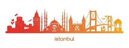 Horyzontalny wektorowy ilustracyjny Istanbuł z czerwienią, pomarańcze, żółta gradientowa sylwetka sławni tureccy symbole, widoki, ilustracji