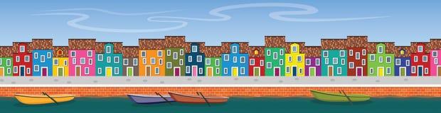 Horyzontalny wektorowy sztandar z rzecznym kanałem, łodziami, molem i qua, Obrazy Royalty Free