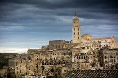 Horyzontalny widok miasto Matera fotografia royalty free